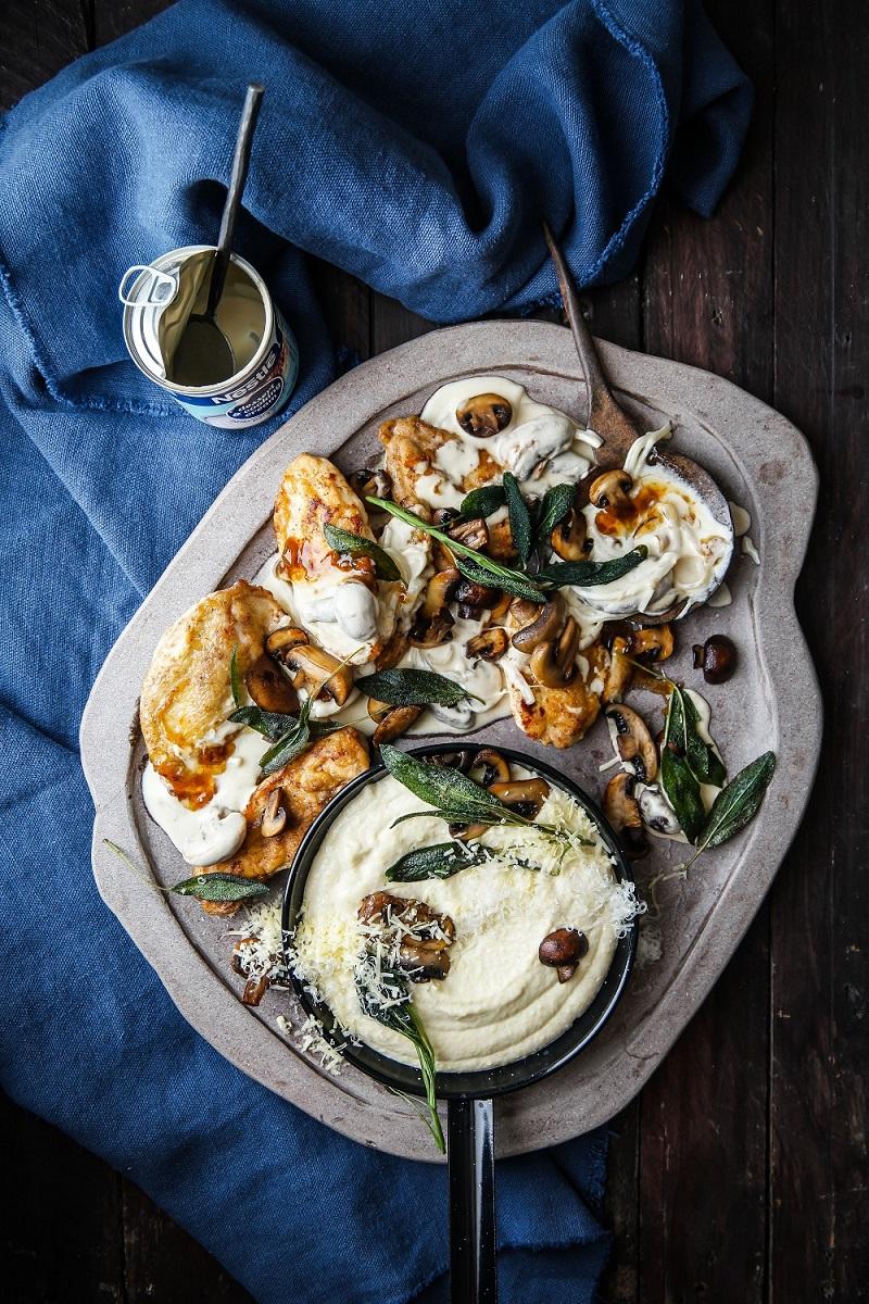 Quick Chicken and Cheesy Polenta Dinner