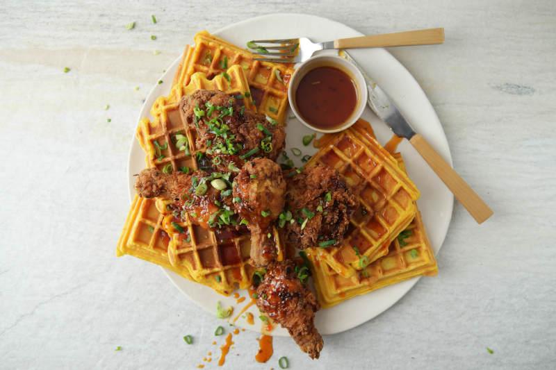 Spicy Crispy Chicken & Pumpkin Waffles | Claire Joy Cooks